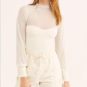 Free People Light Up cream layering top